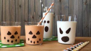 Halloween milkshakes in painted glasses