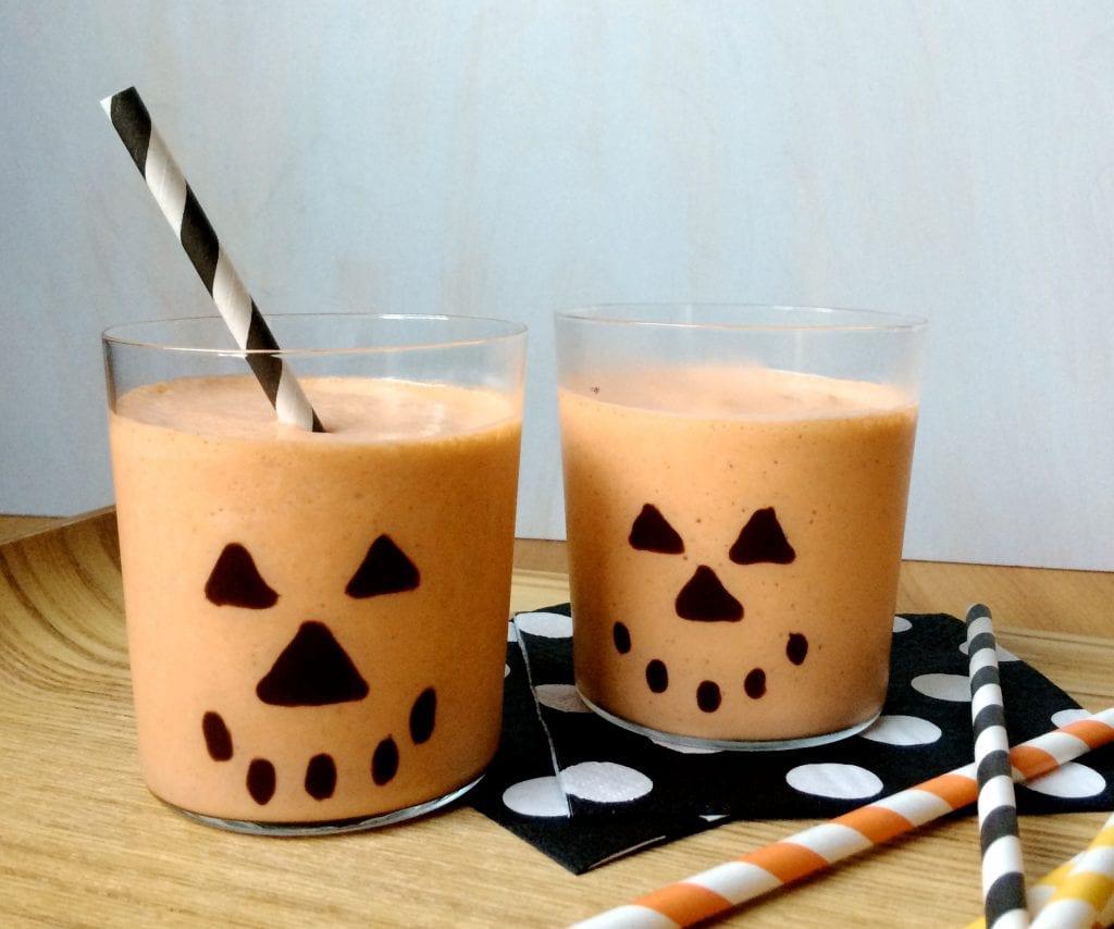 Easy Pumpkin Milkshakes in Spooky Glasses