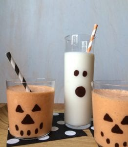 Milkshakes in spooky glasses for Halloween