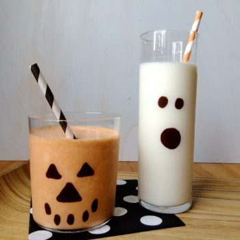 Two versions of easy Milkshakes in Spooky Glasses