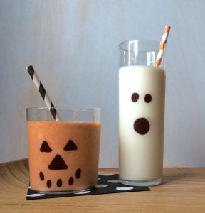Easy Pumpkin Milkshakes in Spooky Glasses