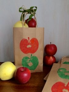 Apple Stamps Craft bag filled with apples