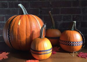 Pumpkins decorated with ribbons