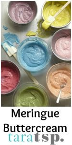 Pinterest image for Meringue Buttercream with text