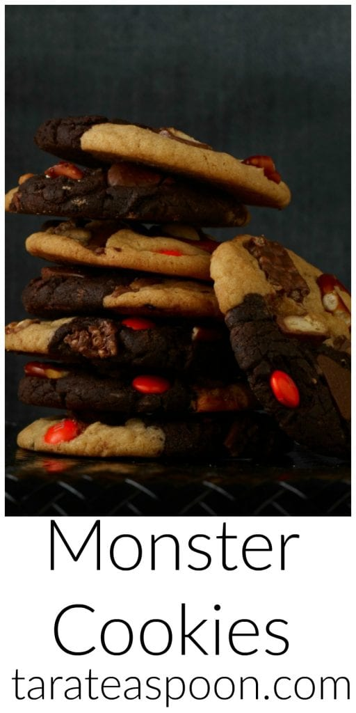 Pinterest image for Monster Cookies with text