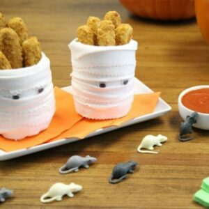 DIY Mummies hold your Mozzarella Sticks for a Halloween Snack