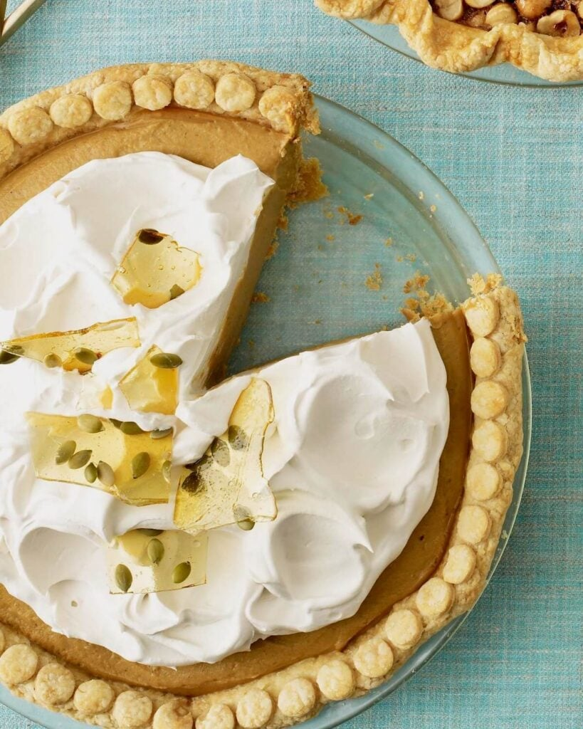 Overhead image of Pumpkin Cream Pie with piece missing