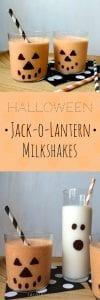 Halloween Jack o lantern milkshake in glasses with paper straws