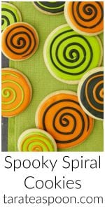 Pinterest image for Spooky Spiral Cookies with text