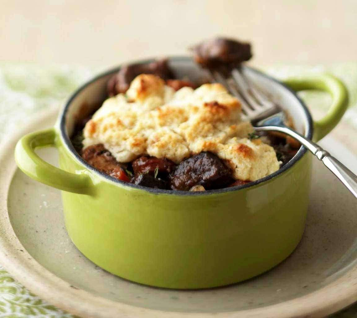 Beef and Vegetable Stew with Biscuit Topping