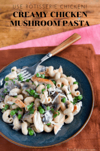Chicken and mushroom pasta in a bowl pin