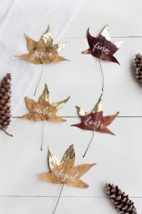 Gold Dipped Leaf Place Card