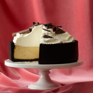 Spiced Cheesecake on white cake stand
