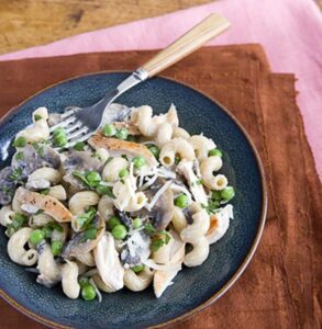 Serving of Mushroom Chicken Cream Pasta