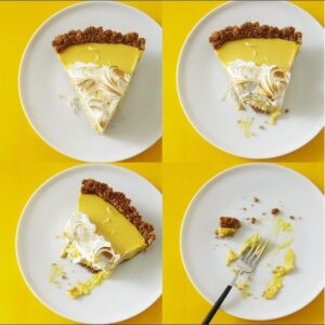 4 plates of Coconut Mango Pie on yellow surface