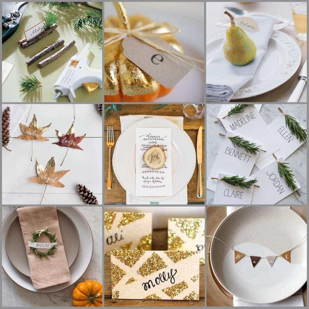 Nine images of Thanksgiving place card ideas