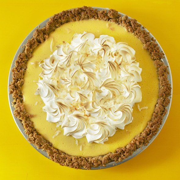 coconut mango pie on yellow surface