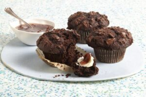 Double Chocolate Muffins on cake round with butter