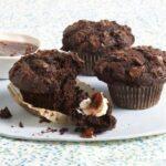 Three Chocolate Muffins on cake round