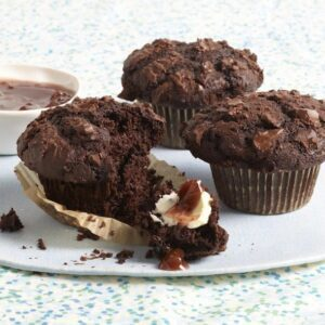 Three Chocolate Muffins on cake round