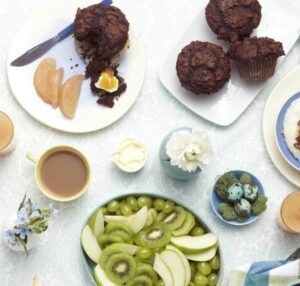Overhead shot of Double Chocolate Muffins on table with tea and fresh fruit