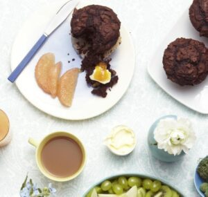 Overhead shot of Double Chocolate Muffins on plates