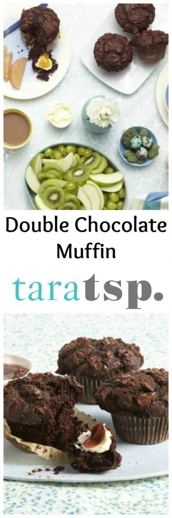 Pinterest image for Double Chocolate Muffin with text