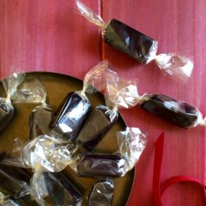 Black Licorice Caramels wrapped in cellophane