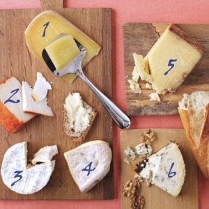 Cheese on cutting boards with id numbers
