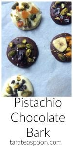 Pinterest image for Pistachio Chocolate Bark with text