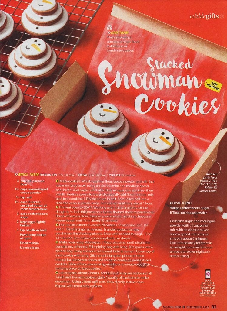 Magazine feature of Tara Teaspoon snowman cookies