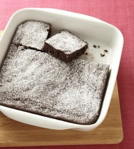 Hide your veggies brownies in white baking dish