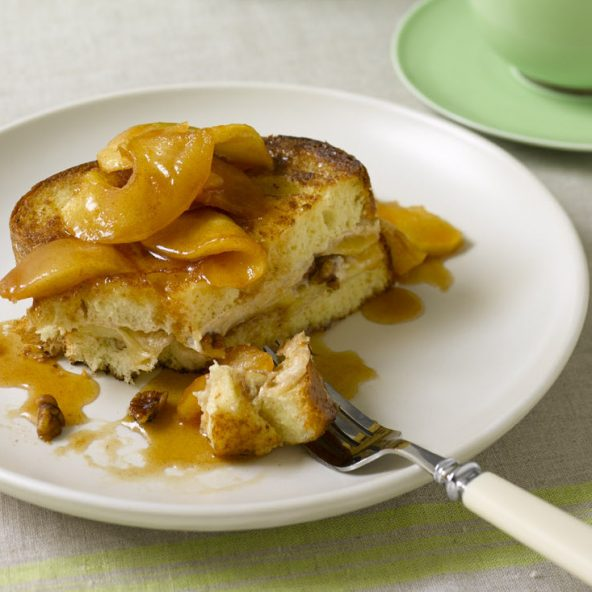 Apple Cream Cheese Stuffed French Toast on plate