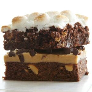 two varieties of brownies stacked