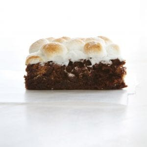 Close up image of brownie with marshmallows