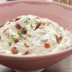 Close up recipe image of Caramelized Onion Bacon Dip