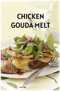 Chicken and gouda melt sandwich with an arugula and red onion garnish