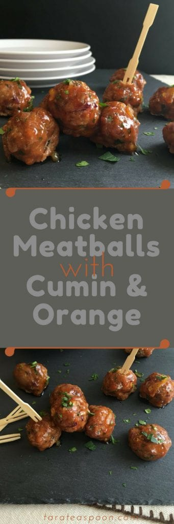 Chicken Meatballs with Cumin and Orange long pin