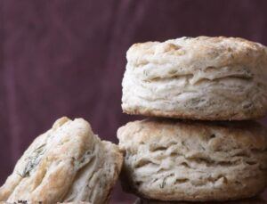 Close up image of flaky biscuits