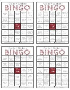 Golden Globes Bingo
