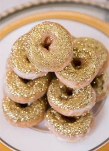 Gold donuts with edible glitter for wedding or Golden Globes party