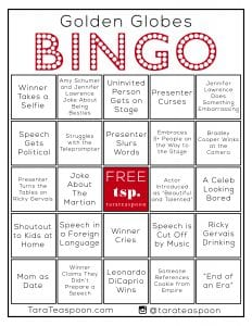 Golden Globes Bingo card