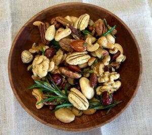 Overhead shot of Golden Rosemary Garlic Mixed Nuts