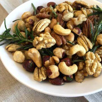 Bowl of Golden Rosemary Garlic Mixed Nuts