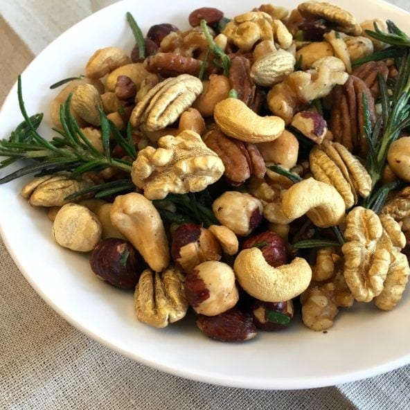 Bowl of Golden Rosemary Garlic Mixed Nuts