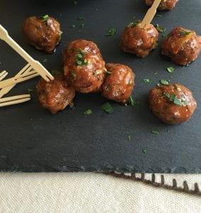 Meatball appetizers on slate