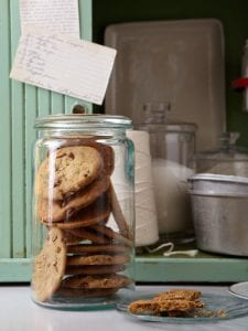 Pecan Cookies in glass jar wit vintage recipe cards