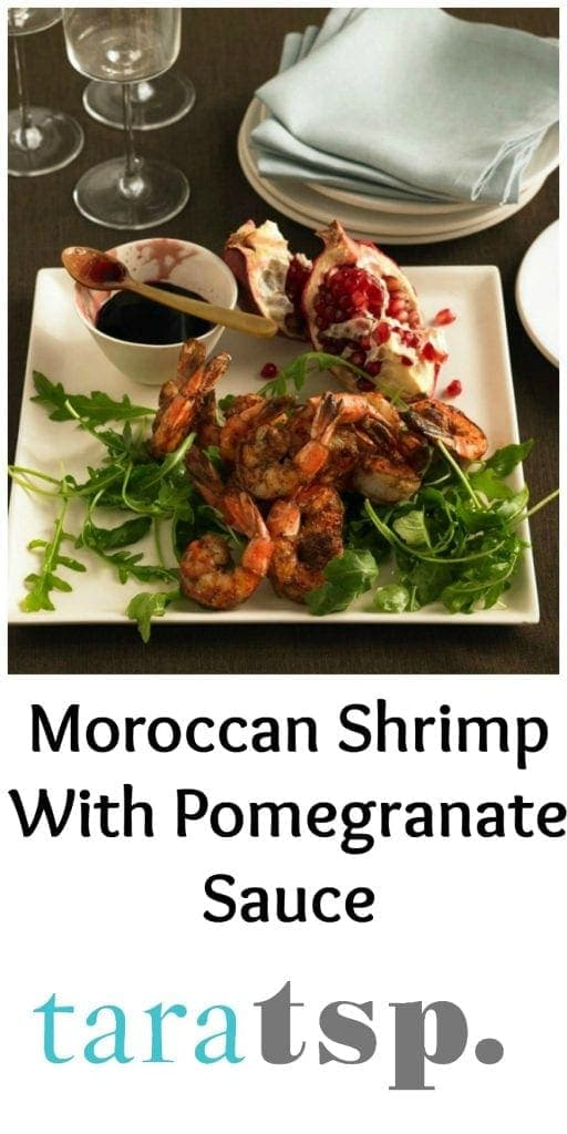Pinterest image for Moroccan Shrimp with text