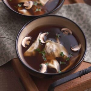 Close up image of Mushroom Ravioli Soup