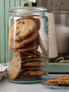 Crisp Pecan Cookies in jar